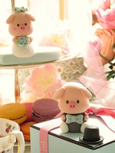 Handmade lovely piggy and piglet bride and groom by kikuike