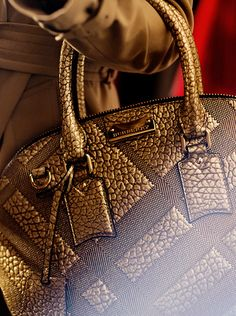 Lady CEO~ The Orchard in festive gold and check-embossed leather- Burberry #LadyLuxuryDesigns
