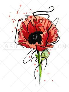 This eye-catching poppy watercolor tattoo is available as a black tattoo or a full color tattoo. A poppy flower tattoo symbolizes sleep or peace, and can be used to represent the loss of a loved one.