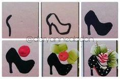 Que tal esse passo a passo desse lindo sapatinho ?   Cores usadas : preto (tecido)  Rosa escuro , branco , rosa ,amarelo pele ,vermelho fogo e verde pistache. (Fosca pra artesanato )