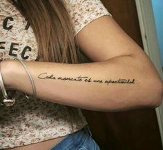 Arm Quote Tattoos, Side Arm Tattoos, Cursive Tattoos, Tattoo Script, Arm Tattoos For Women, Tattoo Fonts, Body Art Tattoos, Tattoo Quotes, Mommy Tattoos