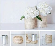 All you need is an empty tin can, paint colors of your choice and you have beautiful decor! Here are some of my favorite DIY tin can wedding decor ideas! Tin Can Crafts, Diy And Crafts, Decoration Shabby, Rope Crafts, Creation Deco, Hacks Diy, Diy Wedding, Wedding Ideas, Diy Projects
