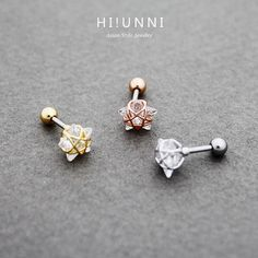 16g Crystal Wire Frame Star Barbell Ear Piercing Stud by HiUnni