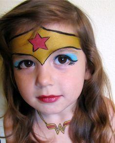 Trucco del viso per Carnevale per bambini da Wonder Woman