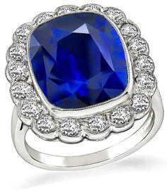 Cushion Cut Ceylon Sapphire Old Mine Cut Diamond Platinum Engagement Ring