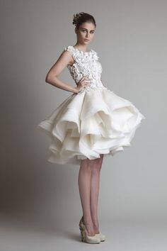 Fun and flirty wedding or reception dress #KrikorJabotian