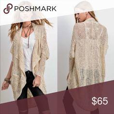 993d241a24b2 Cream Long Sleeve Cardigan 50% Polyester 50% Acrylic Sweaters Cardigans  Knit Cardigan