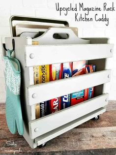 Upcycle and repurpose an old magazine rack from the thrift store into a kitchen caddy and rolling storage bin as modern farmhouse kitchen decor! Farmhouse Style Kitchen, Modern Farmhouse Style, Modern Farmhouse Kitchens, Home Decor Kitchen, Diy Kitchen, Kitchen Furniture, Diy Home Decor, Kitchen Ideas, Apartment Kitchen