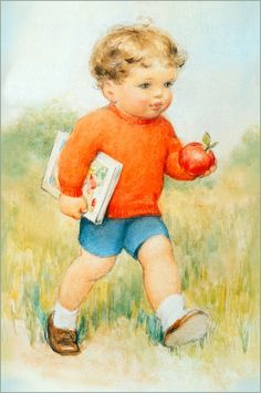 "Bessie Pease Gutmann, Illustrator, ""Boy Going To School With Apple, circa      ."