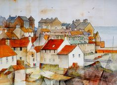 Pen and watercolour by Malcolm Coils Art Works, Watercolor Art, Art Painting, Cityscape Art, Naive Art, Painting, Watercolor Architecture, Ethereal Art, Miniature Painting