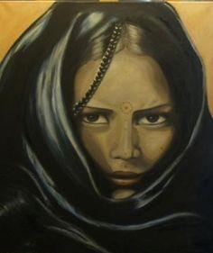 Femme du désert Peinture à l'huile sur toile Marion BENOIT