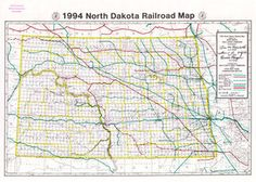 Railroad Map of North Dakota (1994)  This map was published by the Public Service Commission in 1994 in conjunction with the North Dakota Wheat Commission and the Upper Great Plains Transportation Institute. It measures 24 by 17 inches. Source: SHSND PSC 385 N864r 1994