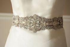 Antique Silver Bridal Wedding Sash - 18 inches (Made to Order). $185.00, via Etsy.
