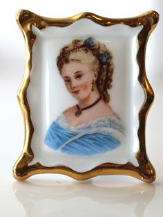 Antique Vintage French Ceramic Frame with Victorian Woman Portrait Gold Edge by WhitesVintage on Etsy