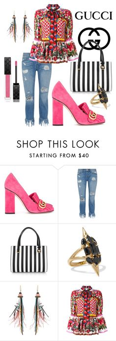 """Gucci Fringe Shoes"" by paisleyisback ❤ liked on Polyvore featuring Gucci, 3x1, Dolce&Gabbana, Noir Jewelry and Etro"