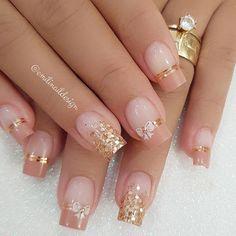french nails design Tutorial (With images) Romantic Nails, Elegant Nails, Stylish Nails, Trendy Nails, Silver Nail Designs, French Nail Designs, Neon Nails, Pink Nails, Bride Nails