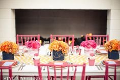 Yellow and Pink Wedding Tablescape with Denim Details