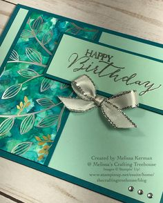 Handmade card made with the Polished Stone Technique, Springtime Foils DSP and the Butterfly Basics Stamp Set. Created by Melissa Kerman, Stampin' Up! demonstrator since 2003.