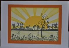 Claritystamp Meadowdance, split tree and grasses.