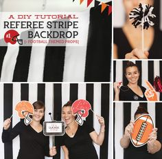 #DIY #Football #Party Photo Booth Idea (Referee Stripe Backdrop + Themed Props) #thephotoorganizers