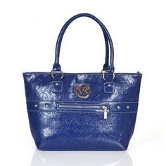 Michael Kors Logo Signature Large Blue Totes Outlet