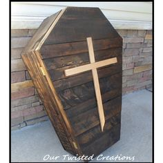 Wood Halloween Coffin Wood Casket Halloween Decorations Graveyard... ($150) ❤ liked on Polyvore featuring home, home decor, holiday decorations, home & living, home décor, red, cross home decor, wooden hooks, outdoor holiday decor and halloween home decor