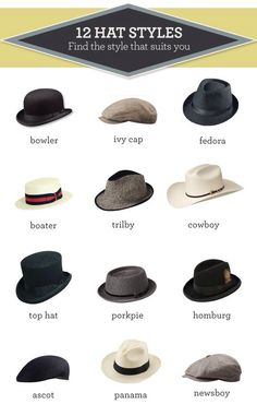 12 Hat Styles - A splendid graphic of the various types of hats. Sharp Dressed Man, Well Dressed Men, Homburg, Style Masculin, Types Of Hats, Chic Vintage Brides, Look Fashion, Fashion Tips, Mens Fashion Hats