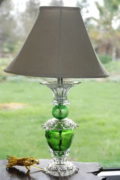 Upcyled Table Lamp with Lead Crystal and Green by CatkinsCreations, $49.00