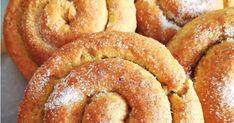 Υλικά για τη ζύμη: 400γρ. αλεύρι για όλες τις χρήσεις 100γρ. φαρίνα απ 300γρ. αλεύρι ολικής άλεσης 55γρ. ζάχαρη 1 πρέζα αλ... Doughnut, Desserts, Food, Tailgate Desserts, Deserts, Essen, Postres, Meals, Dessert