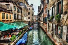 Cafe, canal, Venezia