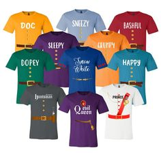 7 Dwarfs Shirts - Cosplay Costume Seven Dwarfs T Shirt Unisex Tee - 7 Dwarf - Family, Cruise, Group Event Snow White and Seven Dwarf Adult, Youth, Toddler Halloween Costume Contest, Family Halloween Costumes, Halloween Stuff, Halloween Ideas, Mom Costumes, Cosplay Costumes, Running Costumes, Costume Ideas, Dominoes Costume