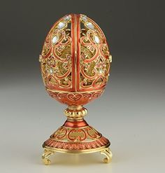 Gold & Red Faberge Egg Trinket Box with Clock Inside Kere...