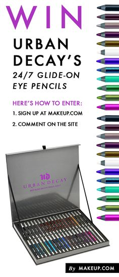 Giveaway Alert! You could win 40 gorgeous Urban Decay Glide-On Eye Pencils. Repin this if you're loving the colors and head over to makeup.com to enter for your chance to win!