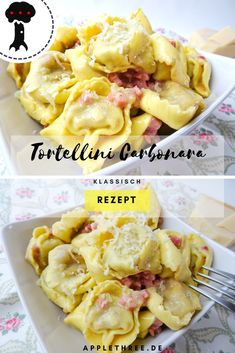 Simple recipes for Tortellini Carbonara with Prosciutto. Tolle healthy Rezepte für Meals, Dinners, Food and a lot of Cheese. Tortellini mal nicht als Yummy Pasta Recipes, Raw Food Recipes, Soup Recipes, Simple Recipes, Easy Salad Recipes, Healthy Recipes, Soup Appetizers, Healthy Appetizers, Appetizer Recipes