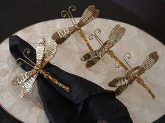 """Kim Seybert Dragonfly Napkin Rings Set of 4 Gold Sequins Beads 5"""""""