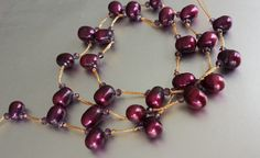 Dark Red Pearl Mothers Day Necklace Rich Dark by Tatjanajewellery