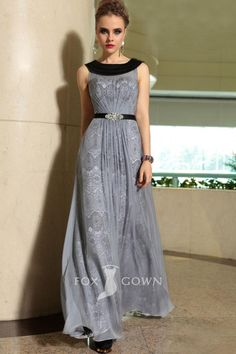 grey chiffon over floral lace boat neck sleeveless floor length a-line formal dress, in purple or blue