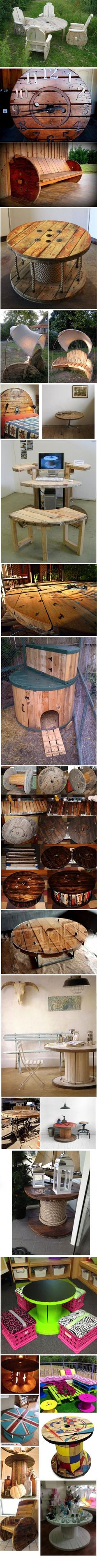 Repurposed Wire Spool Ideas Ideas for repurposing a wire cable spool. Pallet Crafts, Pallet Projects, Wood Crafts, Woodworking Projects, Wire Spool, Wooden Spools, Pallet Furniture, Furniture Projects, Recycled Furniture