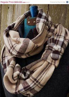 Infinity Scarf in Plaid Cotton Flannel with Button Detail
