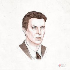 Illustrations by Helen Green representing the changing images of David Bowie (screen shots taken from an animation featuring around 30 illustrations)