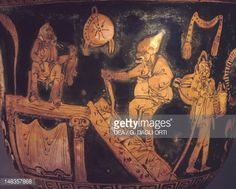 Apulian krater depicting a theatrical scene with a caricature of the. Magna Graecia, Ancient Greek, Caricature, Black History, Civilization, Plays, Vases, Comic, Theater
