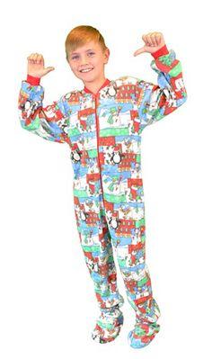 "Kids Big Feet Pajamas ""Christmas"" Fleece One Piece Footy"