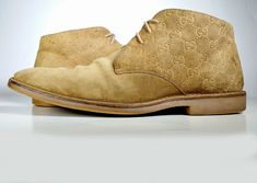 GUCCI BOOTS Mens 11.5 US / 10.5 Eur Tan Suede Desert Boot GUCCISSIMA Ankle Boots #Gucci #AnkleBoots