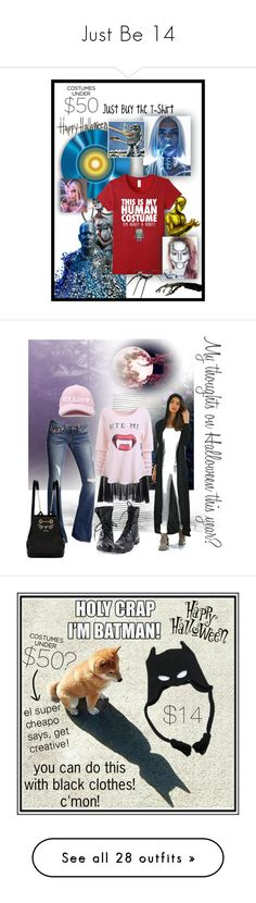 """Just Be 14"" by caroline-buster-brown ❤ liked on Polyvore featuring under50, halloweencostume, halloweencostumes, White Label, True Religion, Forever 21, Charlotte Olympia, Halloween, halloweenfashion and Torrid"