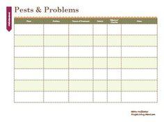 Pests & Problems Printable