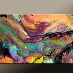 Abstract Art Canvas Painting 36x24 Original Contemporary Wall Art Painting by Destiny Womack - dWo -  Beyond the Stars. $129.00, via Etsy.