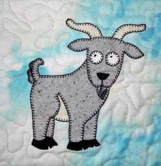 (7) Name: 'Quilting : Baby Goat Applique Block