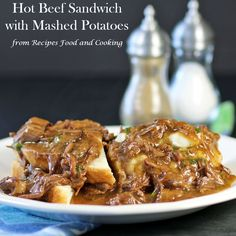 Hot Beef Sandwiches made from a chuck roast. Tender pieces of beef smothered in gravy made into a sandwich with mashed potatoes.