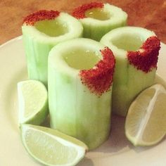 Cucumber Vodka Shots made with Real Cucumbers and Chili Powder.   See other ideas at http://www.jimmygarza.com/cinco-de-mayo