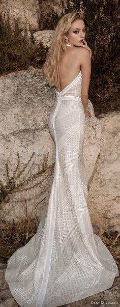 dany mizrachi spring 2018 bridal sleeveless halter high neck full embellishment geometric lace elegant art deco sheath wedding dress open back sheath wedding dress sweep train (32) bv